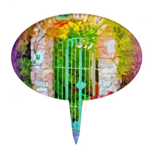 Puerta colorida del arco de piedra decoración de tarta
