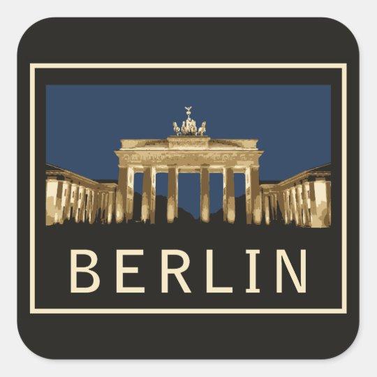 Puerta de Berlín Brandeburgo Pegatina Cuadrada