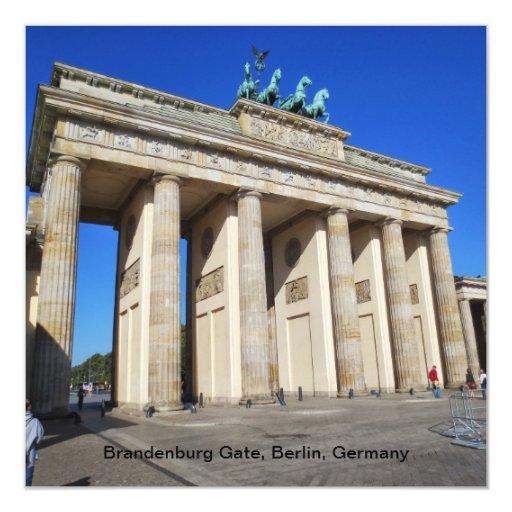 """Puerta de Brandeburgo, Berlín, Alemania Invitación 5.25"""" X 5.25"""""""