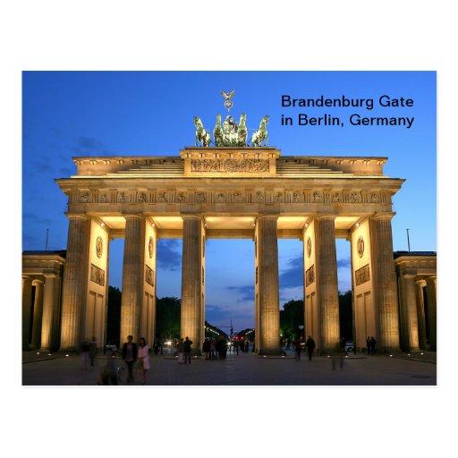 Puerta de Brandeburgo en Berlín, Alemania en la no Postales