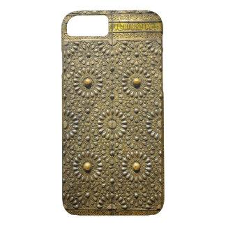 Puerta de cobre de cobre amarillo antigua del funda iPhone 7