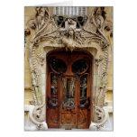 Puerta de entrada a los apartamentos tarjeta de felicitación