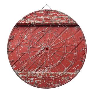 Puerta de granero de madera pintada rojo