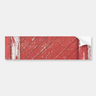 Puerta de granero de madera pintada rojo etiqueta de parachoque