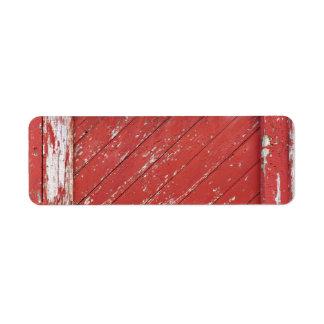 Puerta de granero de madera pintada rojo etiqueta de remitente