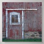 Puerta de granero roja impresiones