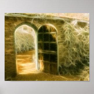 Puerta de hadas infrarroja del jardín impresiones