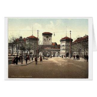 Puerta de Isar, obra clásica Photoc de Munich, Bav Tarjetas