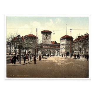Puerta de Isar, obra clásica Photoc de Munich, Bav Postal