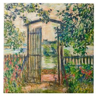 Puerta de jardín en el arte de Vetheuil Claude Azulejo Cuadrado Grande