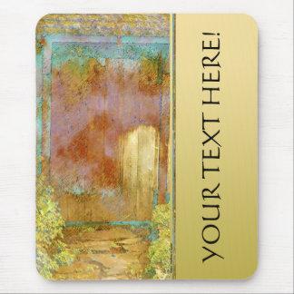 Puerta de jardín en turquesa, oro, y personalizado mouse pad