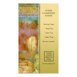 Puerta de jardín en turquesa, oro, y verde tarjeta personal