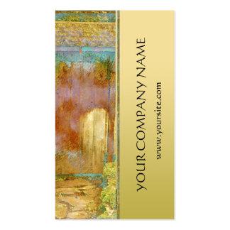 Puerta de jardín en turquesa, oro, y verde tarjetas de negocios