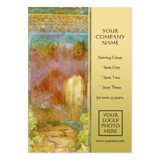 Puerta de jardín en turquesa, oro, y verde tarjetas de visita grandes