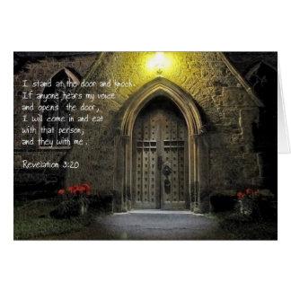 Puerta de la iglesia del 3:20 de la revelación tarjeton