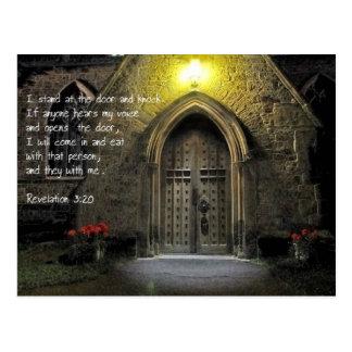 Puerta de la iglesia del 3:20 de la revelación tarjeta postal