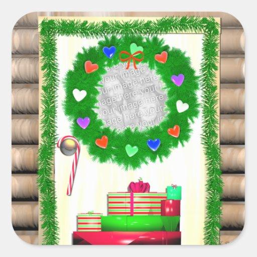 Puerta de las Felices Navidad del país (marco de Pegatina Cuadrada