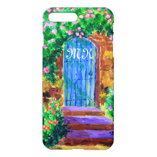 Puerta de madera azul preciosa a la rosaleda funda para iPhone 7 plus