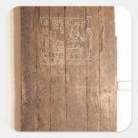 Puerta de madera de la tumba de Khonsuhotep nueva Calcomanía Cuadradas Personalizadas