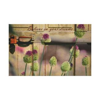 Puerta de madera floral inspirada impresiones en lienzo estiradas
