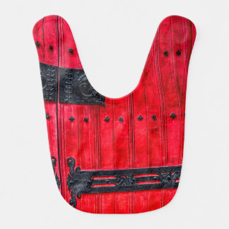 Puerta de madera rústica roja magnífica babero para bebé
