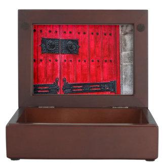 Puerta de madera rústica roja magnífica caja de recuerdos