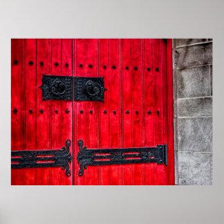 Puerta de madera rústica roja magnífica póster