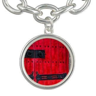 Puerta de madera rústica roja magnífica pulsera con dije