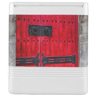 Puerta de madera rústica roja magnífica refrigerador igloo