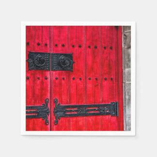 Puerta de madera rústica roja magnífica servilletas desechables