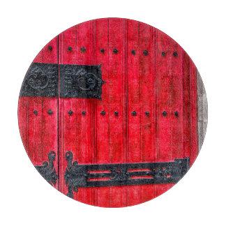 Puerta de madera rústica roja magnífica tabla de cortar