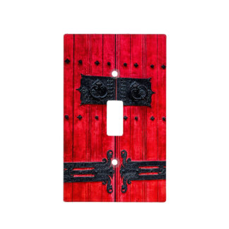 Puerta de madera rústica roja magnífica tapa para interruptor
