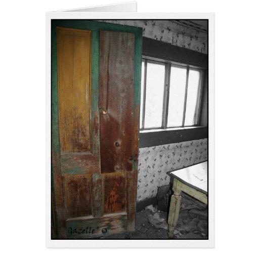 Puerta de madera vieja felicitación