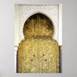 Puerta de oro y una manera del arco, Marruecos Poster