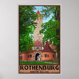Puerta del castillo de Rothenburg Póster