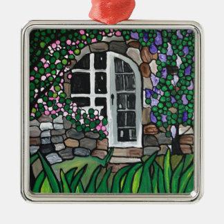 Puerta del jardín secreto adorno cuadrado plateado