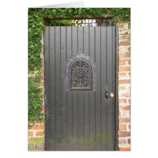 Puerta del jardín tarjeta de felicitación