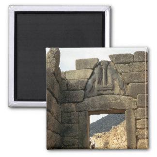Puerta del león sobre la entrada imán cuadrado