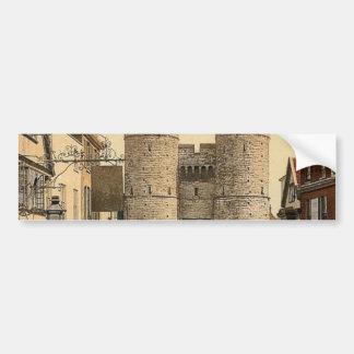 Puerta del oeste obra clásica Photochrom de Canto Pegatina De Parachoque