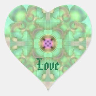 Puerta del pasto al extracto suavemente pegatina en forma de corazón