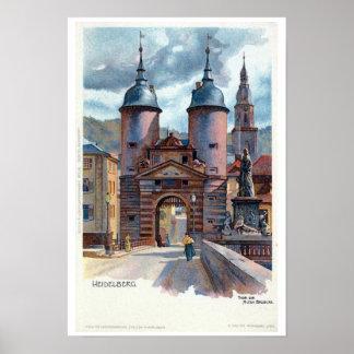 Puerta del puente de Litho Heidelberg del vintage Póster