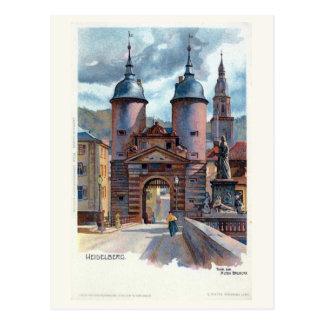 Puerta del puente de Litho Heidelberg del vintage Tarjeta Postal