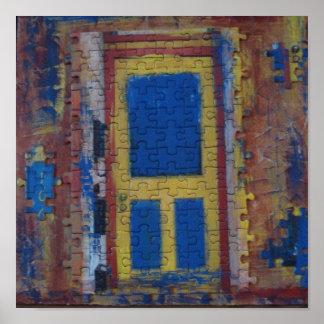 Puerta del rompecabezas del Mulit-Color en lona Póster