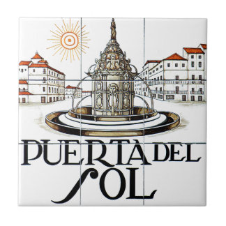 Puerta del Sol, Madrid Street Sign Ceramic Tile