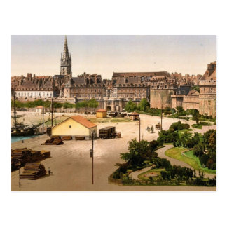 Puerta del St. Vincent, St. Malo, obra clásica Postal
