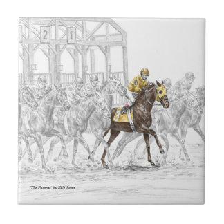 Puerta el comenzar de la carrera de caballos azulejo cuadrado pequeño