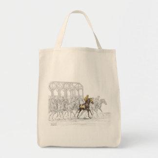Puerta el comenzar de la carrera de caballos bolsas de mano