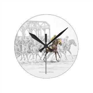Puerta el comenzar de la carrera de caballos reloj de pared