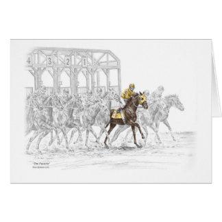 Puerta el comenzar de la carrera de caballos tarjeta de felicitación