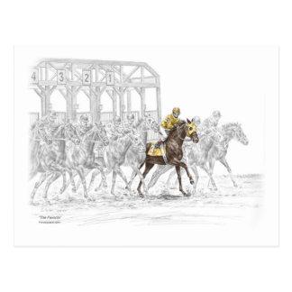Puerta el comenzar de la carrera de caballos postales